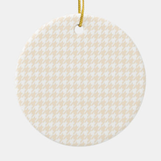 Antique White Houndstooth Double-Sided Ceramic Round Christmas Ornament