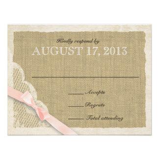 Antique White Lace Country Response Blush Custom Invitation