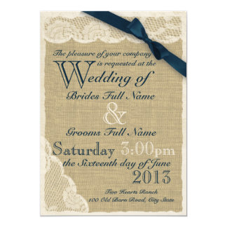 "Antique White Lace Country Wedding Navy 5"" X 7"" Invitation Card"