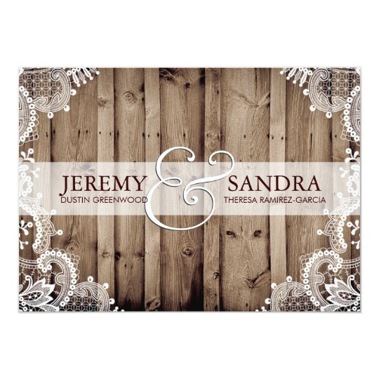 Antique White Lace Wedding Invitation