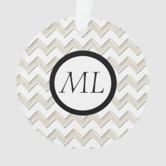 Antique White On White Chevron Circle Monogram