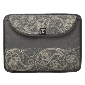 Antique White Paisley On Dark Gray Pattern Design Sleeve For MacBooks