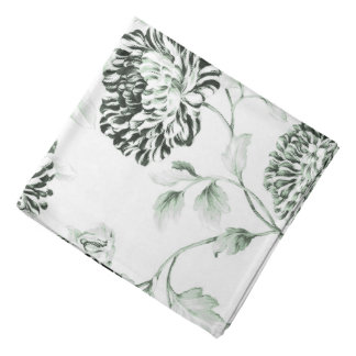 Antique White & Sea Foam Green Floral Toile Bandana