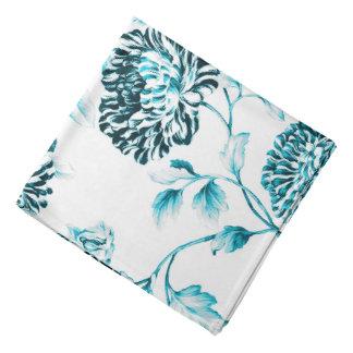 Antique White & Turquoise Botanical Floral Toile Bandana