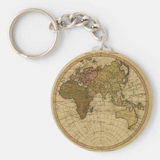 Antique William Faden 1786 Eastern Hemisphere Map Basic Round Button Key Ring