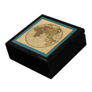 Antique William Faden 1786 Eastern Hemisphere Map Large Square Gift Box
