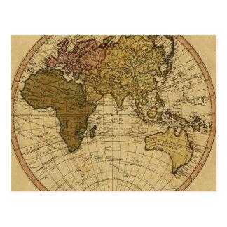 Antique William Faden 1786 Eastern Hemisphere Map Postcard