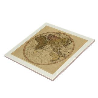 Antique William Faden 1786 Eastern Hemisphere Map Tile