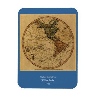 Antique William Faden 1786 Western Hemisphere Map Rectangular Photo Magnet