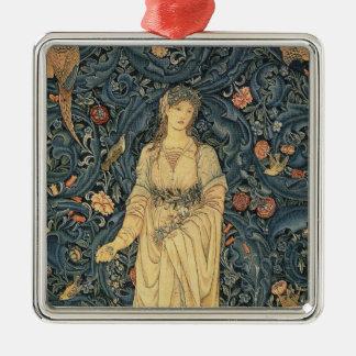 Antique William Morris Flora Silver-Colored Square Decoration