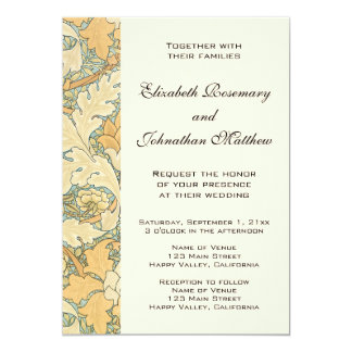 Antique William Morris Floral Flowers Wedding Card