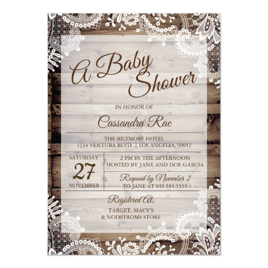 Antique Wood and Lace Baby Shower Invitation