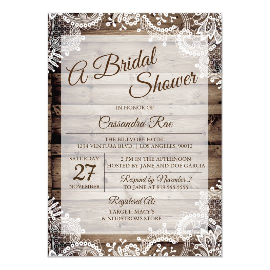 Antique Wood and Lace Bridal Shower Invitation