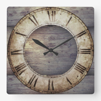 """Antique Wood"" Clock with Roman Clockface"