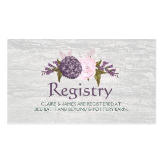 Antique Wood & Mauve Flowers Wedding Registry Card Pack Of Standard Business Cards