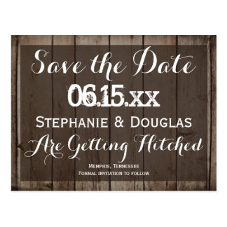 Antique Wood Rustic Save the Date Postcards
