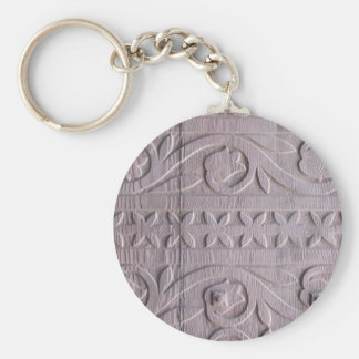 Antique Woodcarving Photo Basic Round Button Key Ring
