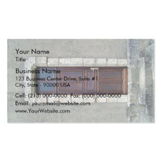 Antique Wooden door in stone wall Business Card Templates