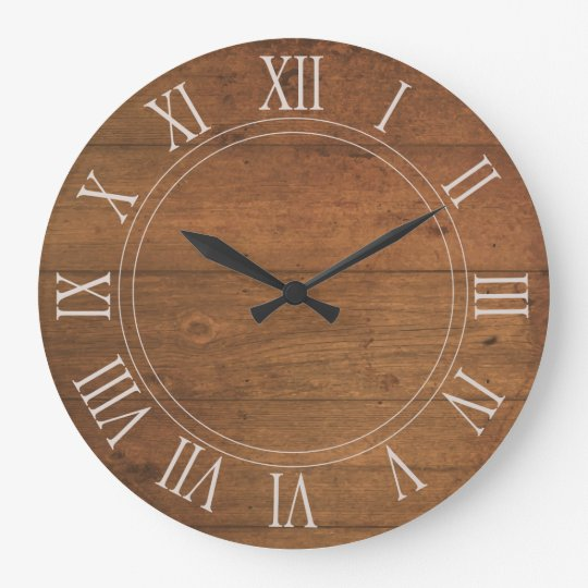 Antique Wooden Roman Numeral Round Wall Clock Zazzle Co Uk