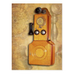 Antique wooden wall telephone post card