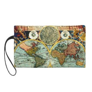Antique World Globe Map Vintage Art Designer Purse Wristlet