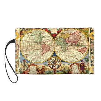 Antique World Globe Map Vintage Art Designer Purse Wristlet Purse