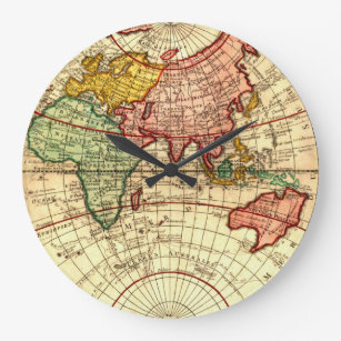 Custom antique world map wall clocks zazzle antique world globe map vintage art designer style large clock gumiabroncs Image collections