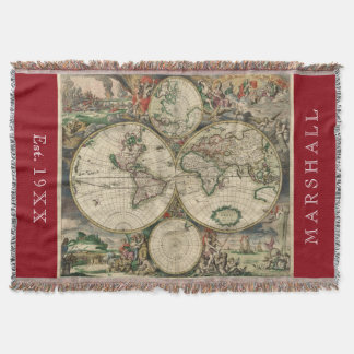Antique World Map 1689  Personalised Throw Blanket