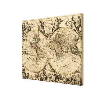 Antique World Map, 1694, by Alexis Hubert Jaillot Canvas Print