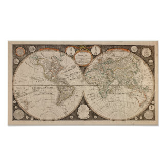 Antique World Map, 1799 (Thomas Kitchen) Poster