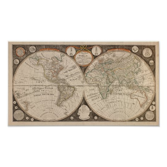 Antique World Map, 1799 (Thomas Kitchen) Poster