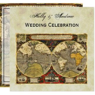 Antique World Map #2, Distressed BG #3 SQ Wedding 13 Cm X 13 Cm Square Invitation Card