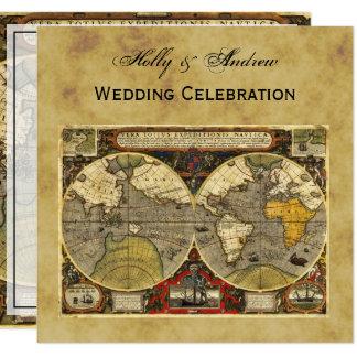Antique World Map #2, Distressed BG SQ Wedding 13 Cm X 13 Cm Square Invitation Card