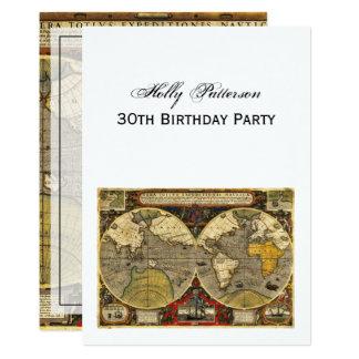 Antique World Map #2, DIY White BG V Birthday 13 Cm X 18 Cm Invitation Card
