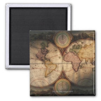 Antique world map 2 square magnet
