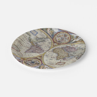 Antique World Map #3 7 Inch Paper Plate