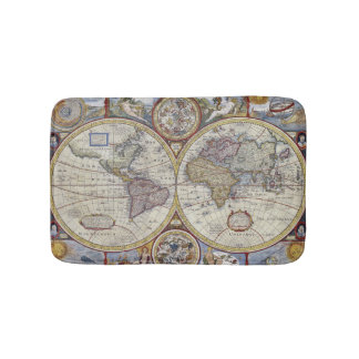 Antique World Map #3 Bath Mats