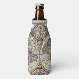 Antique World Map #3 Bottle Cooler