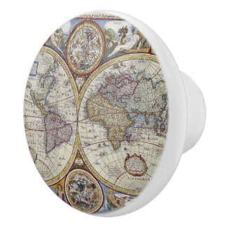 Antique World Map #3 Ceramic Knob