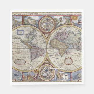 Antique World Map #3 Disposable Serviette