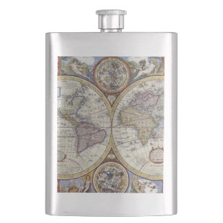 Antique World Map #3 Hip Flask