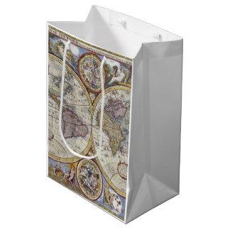 Antique World Map #3 Medium Gift Bag