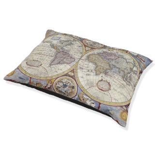 Antique World Map #3 Pet Bed