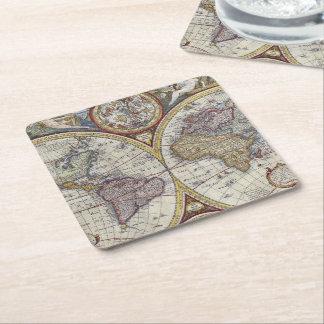 Antique World Map #3 Square Paper Coaster