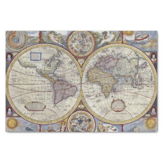 Antique World Map #3 Tissue Paper