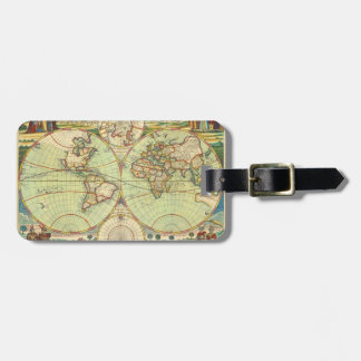 Antique World Map #4 Luggage Tag