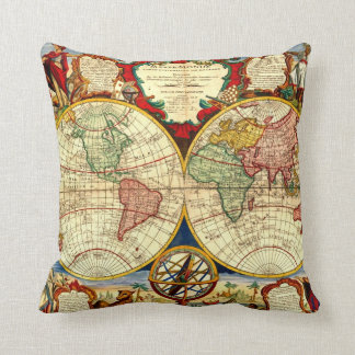 Antique World Map Art Vintage Style Decorator Cushion
