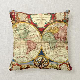 Antique World Map Art Vintage Style Decorator Cushion