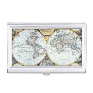 Antique World Map, Atlas Maritimus by John Seller Business Card Holder