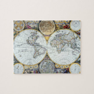 Antique world map jigsaw puzzles zazzle antique world map atlas maritimus by john seller jigsaw puzzle gumiabroncs Images